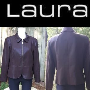 Size Petites 12 zip up brown shine jacket